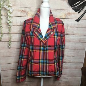 Caslon red plaid jacket size L
